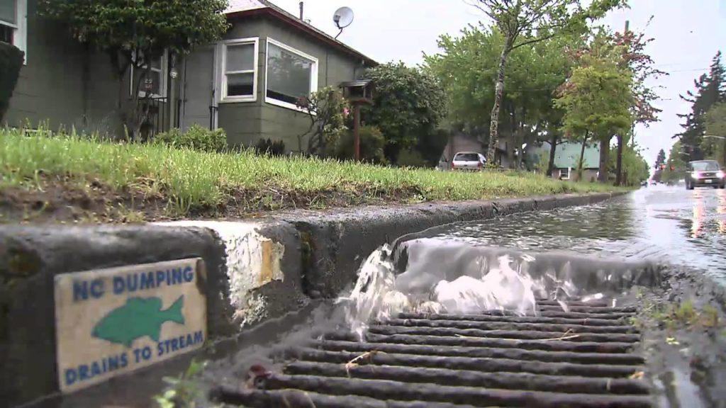 Water flowing towards storm drain